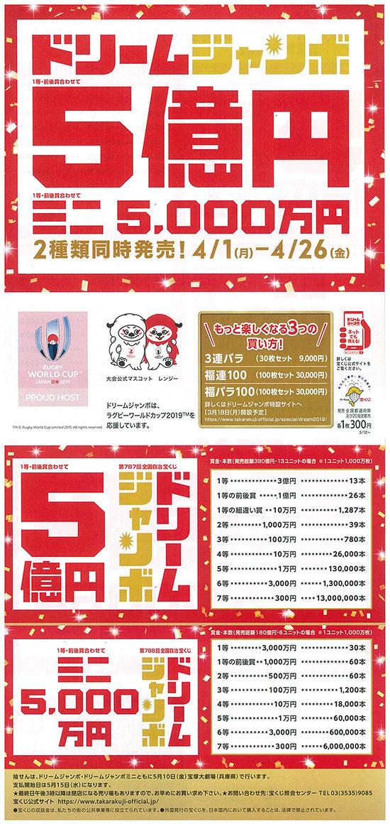 ドリームジャンボ・ミニ 2種類同時発売!4/1〜4/26